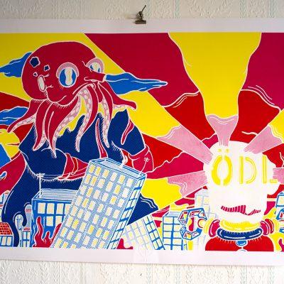 Affiche Kaiju Vs Robot Jeremy Ledda